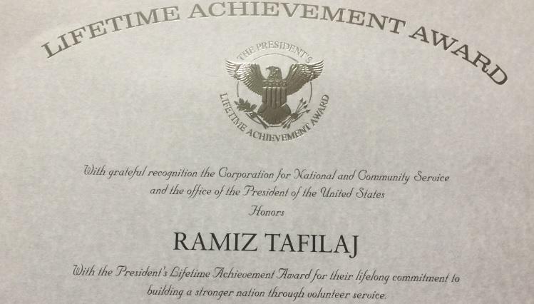 Filantropi Ramiz Tafilaj nderohet nga Presidenti Donald Trump