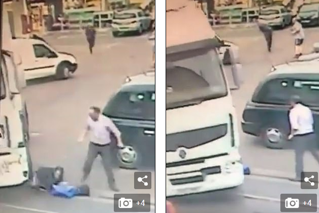 Momenti shokues kur një burrë shkilet nga kamioni pasi po ikte nga dyqani që kishte vjedhur