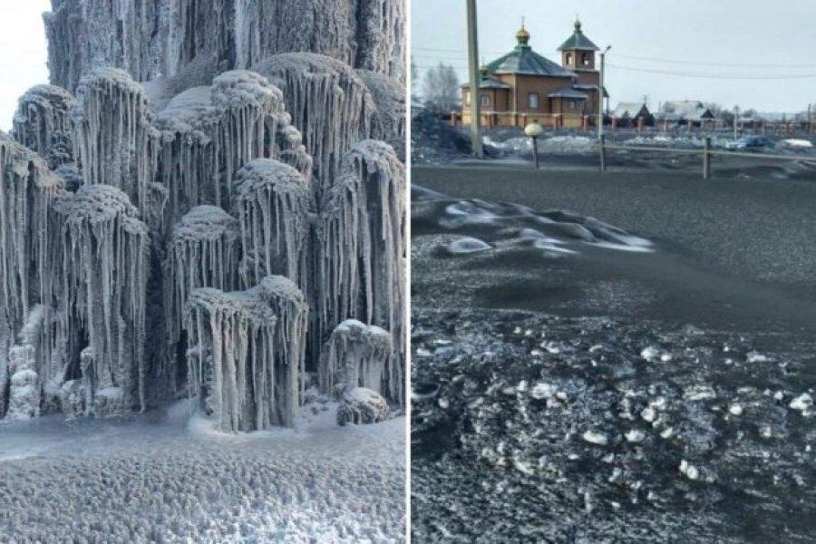 Borë e zezë në Siberi, pamje e bukur e fenomen i frikshëm