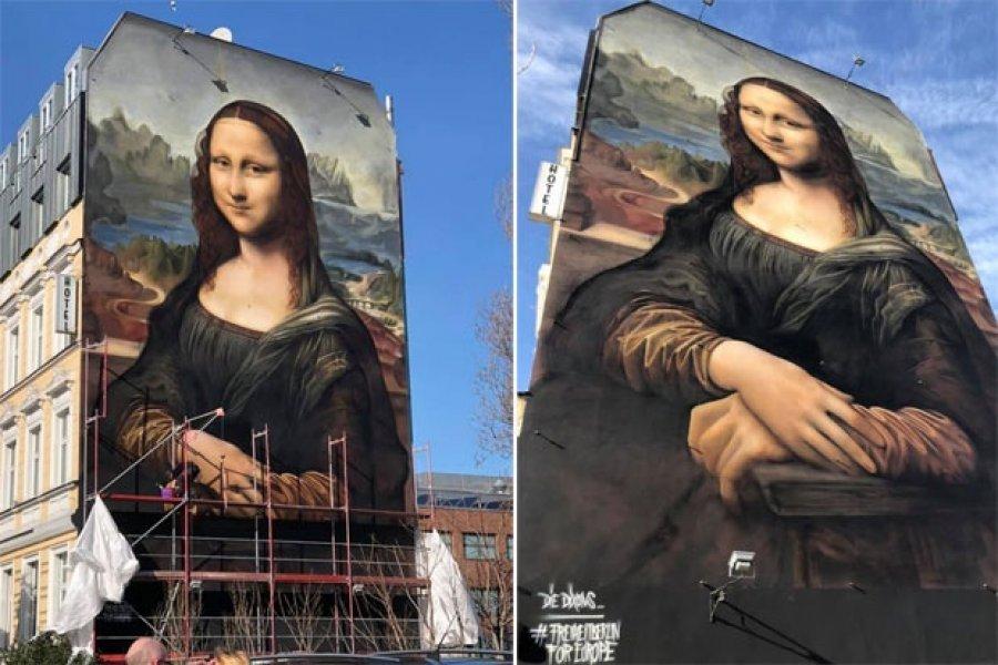 Mona Lisa 170 metrash katrorë mbi murin e një hoteli në Berlin
