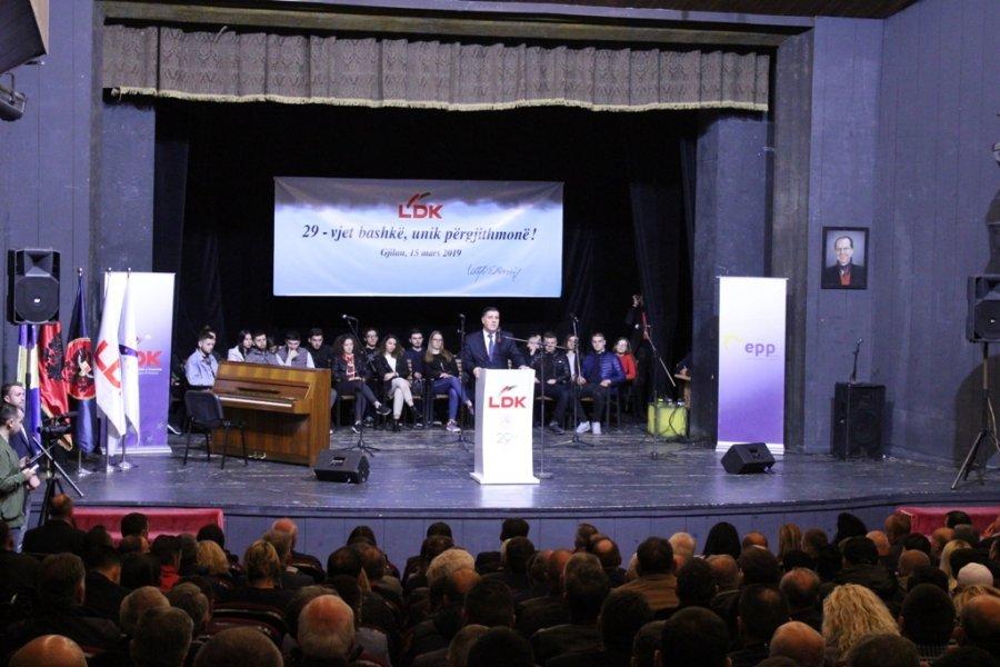 """Haziri në Gjilan thotë se """"LDK i dha Republikës formë, besim dhe shpresë"""""""