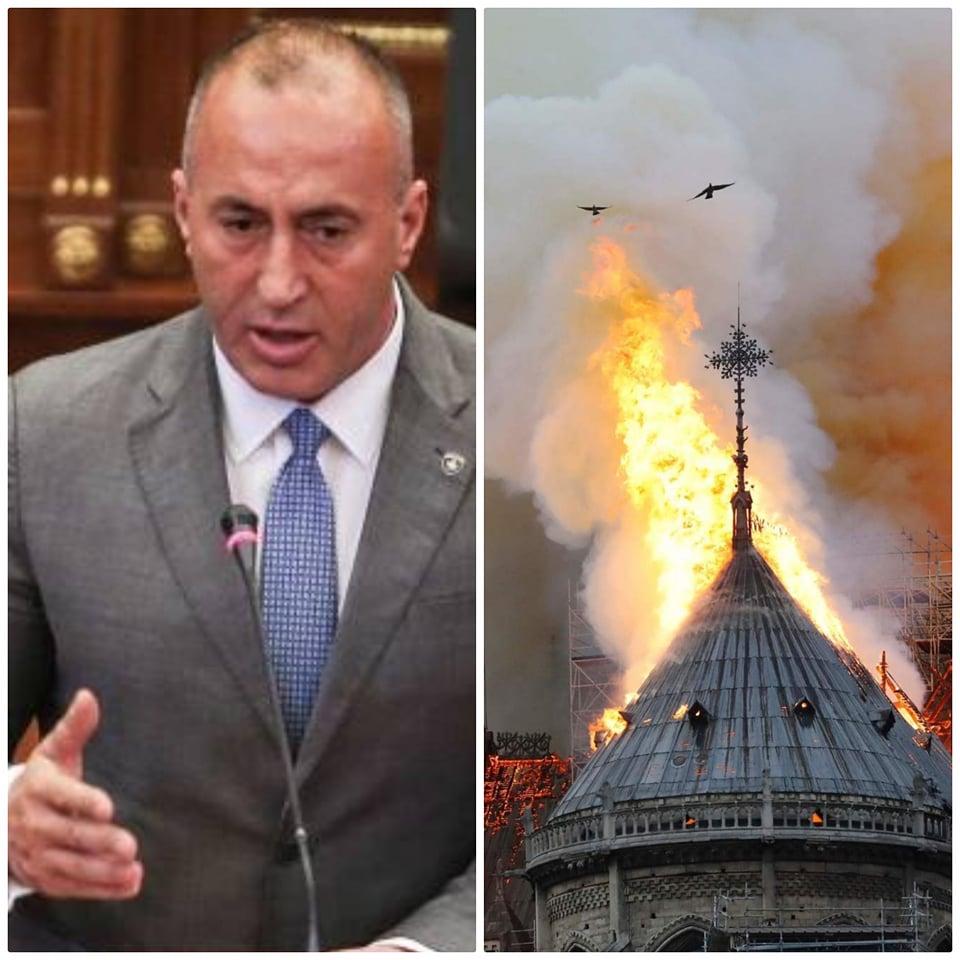 Haradinaj për Katedralen në Paris: I trishtuar për zjarrin që përfshiu monumentin 850-vjeçar të qytetërimit