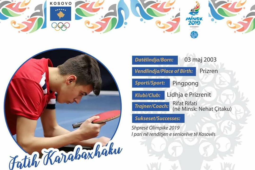 Fatih Karabaxhaku është i vetmi nga sporti i pingpongut që do të përfaqësojë Kosovën në Lojërat e dyta Evropiane Minsk 2019