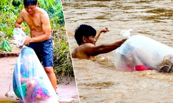 E dhimbshme: I vendosin fëmijët në qese për t'i dërguar në shkollë pasi rrezikohen nga lumi