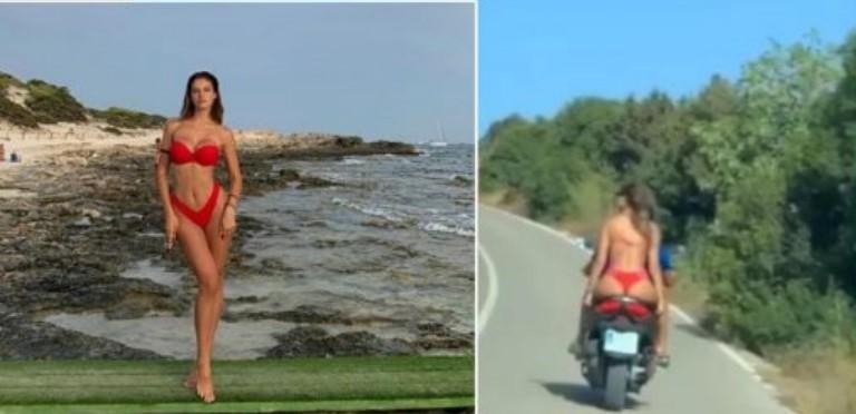 Oriola 'çmend' kalimtarët, del me bikini mbi motor