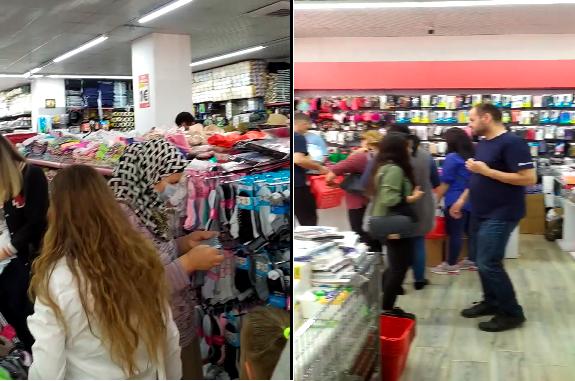 Grumbullohen qytetarët në një dyqan në Fushë Kosovë, pa maska, dorëza e respektim të masave