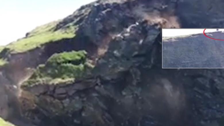 Momente paniku/ shembet shkëmbi në Britani, dy pushues arrijnë të shpëtojnë mrekullisht (VIDEO)