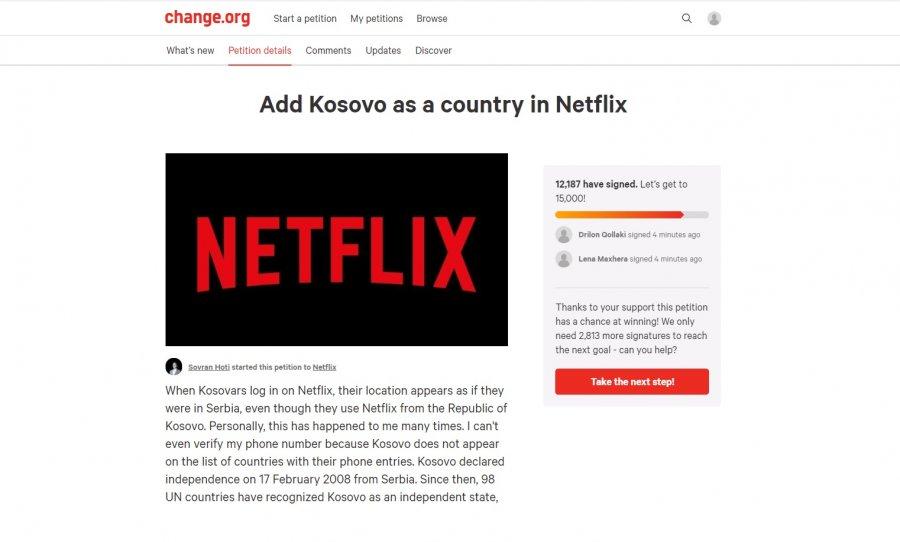 """Gati 15 mijë nënshkrime për një ditë që """"Netflixi"""" ta njohë Kosovën si shtet"""