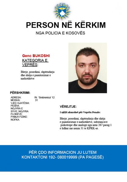 Nëse e shihni këtë person, lajmëroni menjëherë Policinë e Kosovës