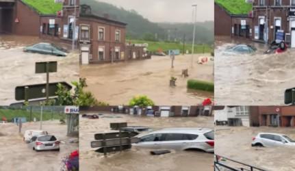 Pamje nga të reshurat në Belgjikë, veturat barten nga uji