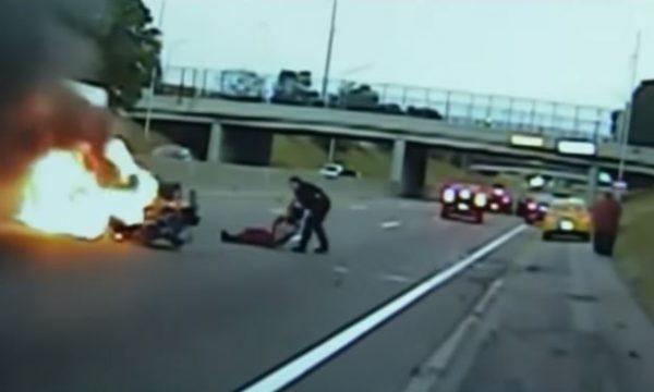 Polici hero e nxjerr të gjallë gruan nga makina që po digjej