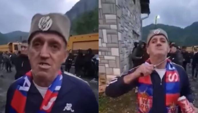 Protestuesi serb para kamerës kërcënon si i çmendur me armë të ftohtë